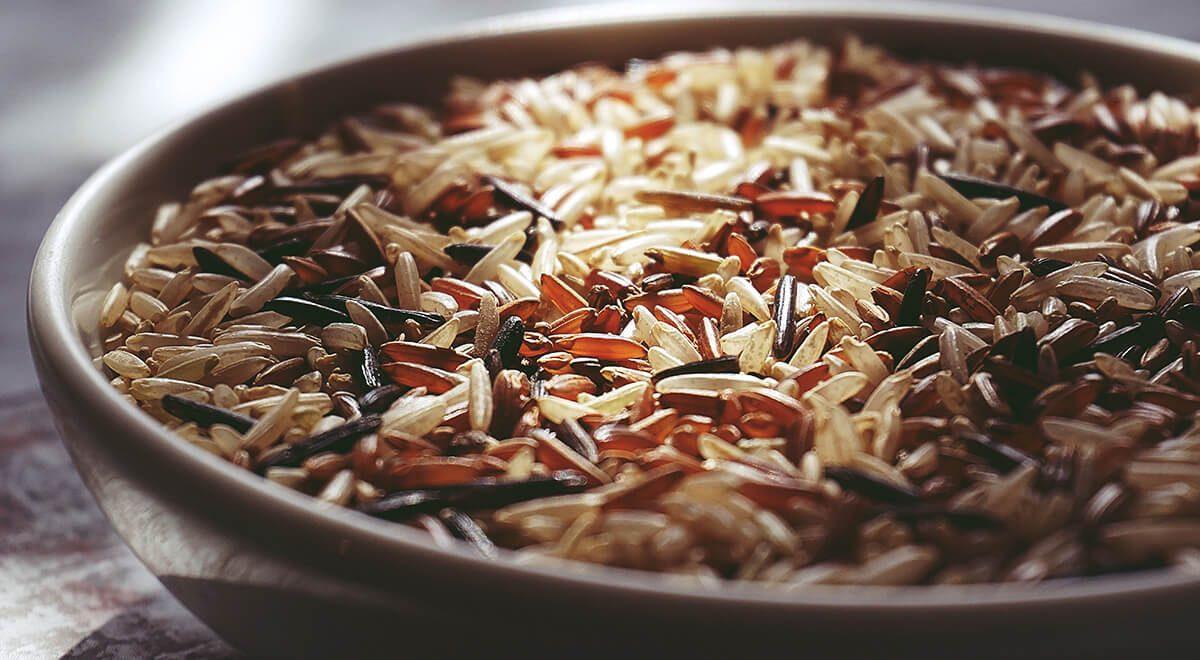Verschillende soorten rijst op een rijtje