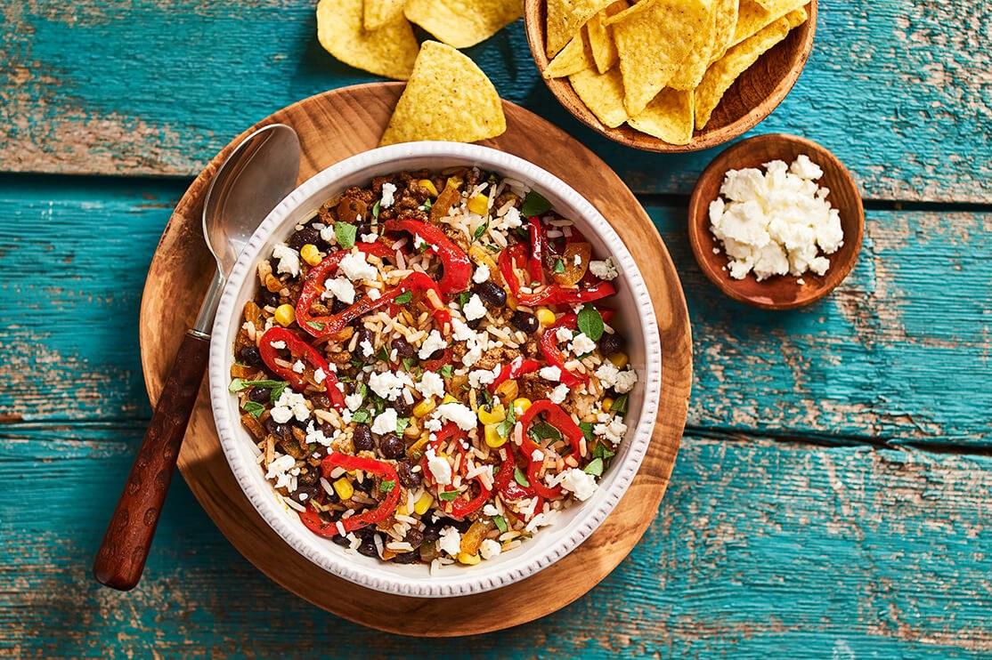 Mexicaanse bowl met half volkorenrijst