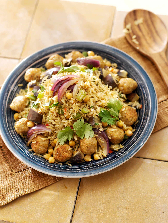 Marokkaanse rijst met gehaktballetjes en aubergine