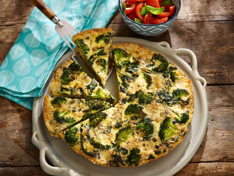 Makkelijke rijstfrittata met spinazie en broccoli
