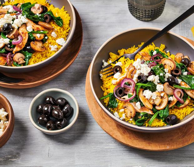 Gele rijst met Kip met champignons