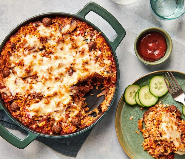 Italiaanse rijstschotel uit de oven