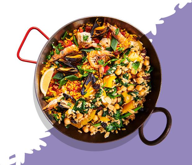 Paella met spinazie,