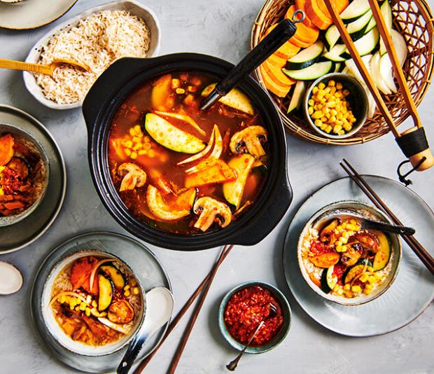 Vegan kimchi hotpot