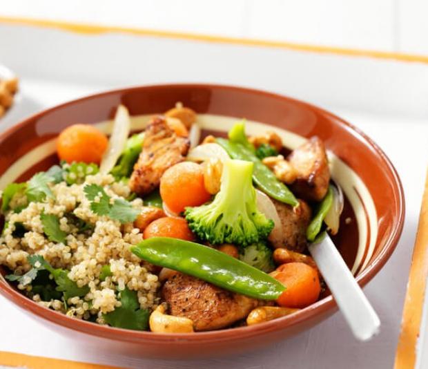Korianderquinoa  met kip en groenten