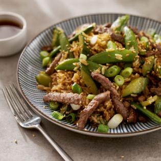 Japanse rijst  met bief en sugarsnaps