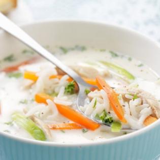 Romige kippensoep  met rijst