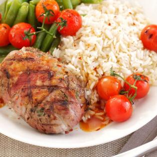 Biefstuk  met tomaat en sperzieboontjes