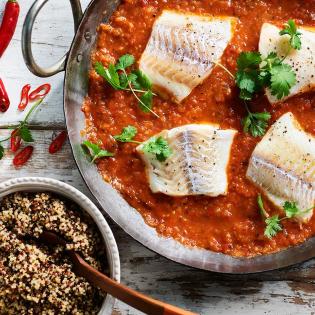 Kleurige quinoa met Braziliaanse vis