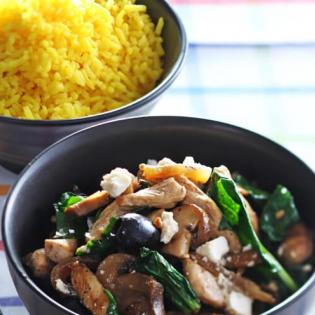Kip  met champignons en spinazie