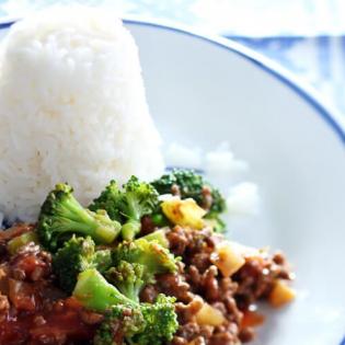 Rundergehakt  met broccoli en rijst