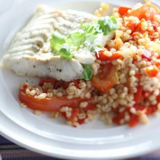Kabeljauw met paprika-tomatengort