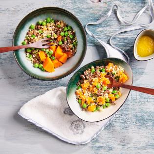 Baby hapje zoete aardappel couscous en gehakt