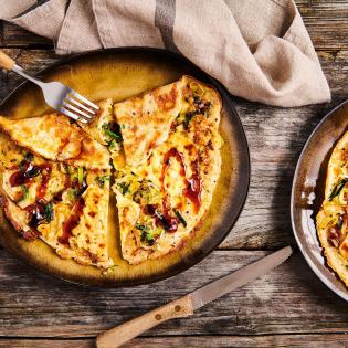 Prei-quinoapannenkoek met kaas