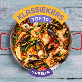 Paella met vis en garnalen