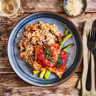 Saltimbocca met champignonrisotto
