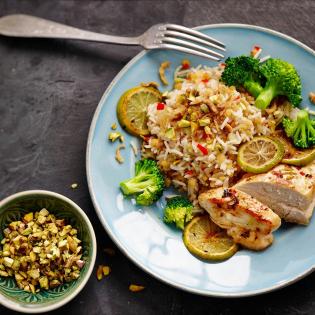 Kruidige rijst met linzen en kip