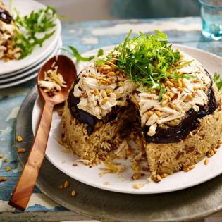 Makloube – Libanese pilav met kip en aubergine