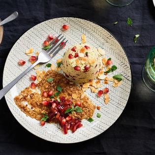 Gebakken schol met granaatappelsaus en couscous