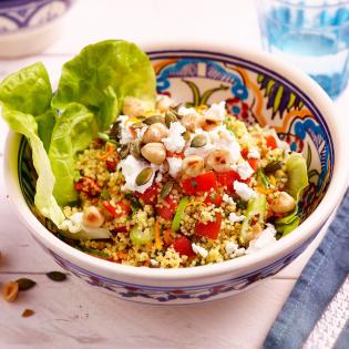 Couscous salade met noten en geitenkaas