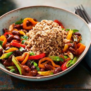 Paprikabonensalsa met zilvervliesrijst, quinoa en granen