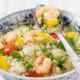 Supersnelle rijstschotel met garnalen