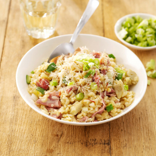 Risotto met Parmaham