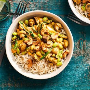 Madras curry met champignons en sojabonen