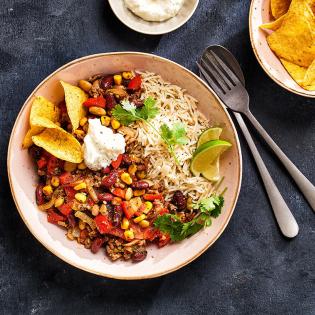 Chili con carne met limoen-korianderrijst
