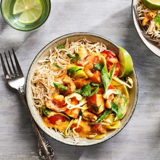 Thaise groentecurry met pompoen en cashewnoten