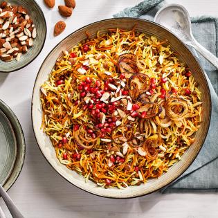 Perzische rijst met linzen granaatappel en amandelen