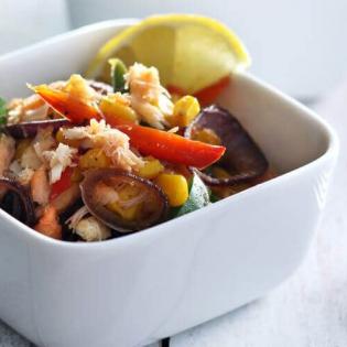 Mexicaanse krab met paprika en maïs