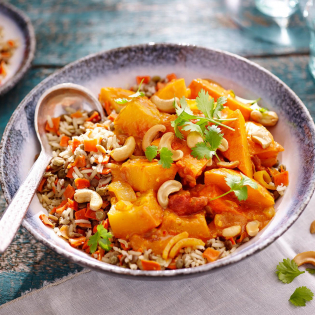 Pompoencurry met linzen rijst