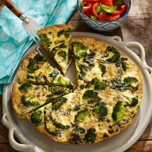 Rijstfrittata met spinazie en broccoli