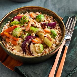 Groentestoof met hazelnoten en zilvervliesrijst +spelt én quinoa